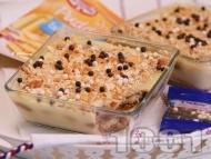 Лесна и бърза домашна торта с бишкоти и ванилов крем пудинг
